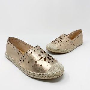 WANTED Rose Gold Faux Leather Espadrille Flats 7